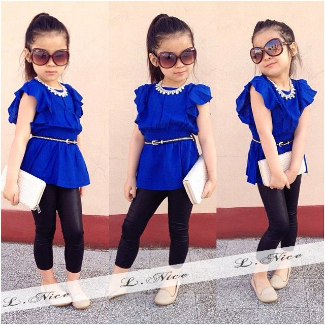 European And American Style Baby Set Blue Tops Black Leggings 2 Pcs Set Fashion Baby Girl