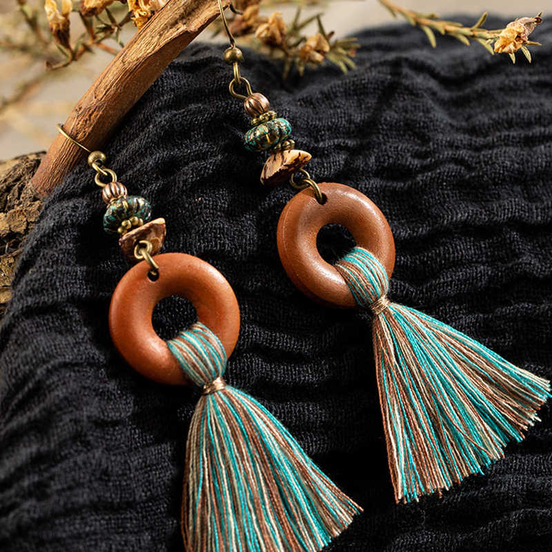 2019 Bohemian Fringe Tassel Earrings For Women Ethnic Green Yellow Color Drop Earing Geometric Wood Wooden Earring Jewelry