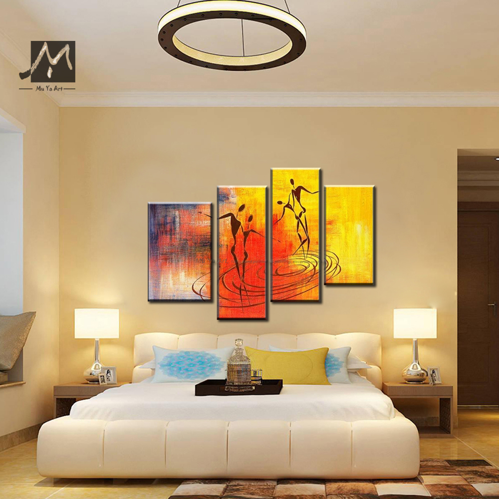 4 piece Muti panel Huge Couple love abstract modern canvas wall art ...