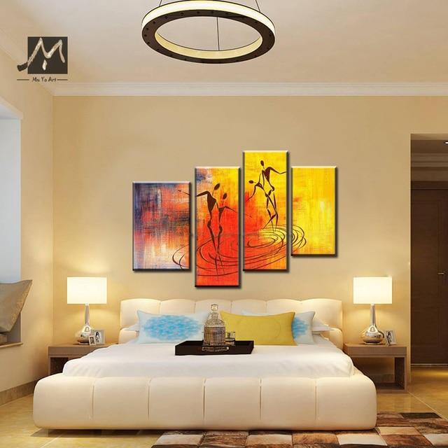 4 piece Muti panel Huge Couple love abstract modern canvas wall art ...