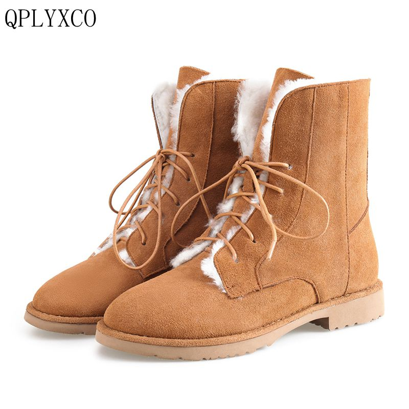 QPLYXCO 2017 New Genuine Leather short boots For Women Casual  Fashion Warm Winter Shoes snow boots 34-43 size A089  new fashion lady warm winter wool zipper tube snow boots for women knight boots brown size 34 43 women boots shoes new