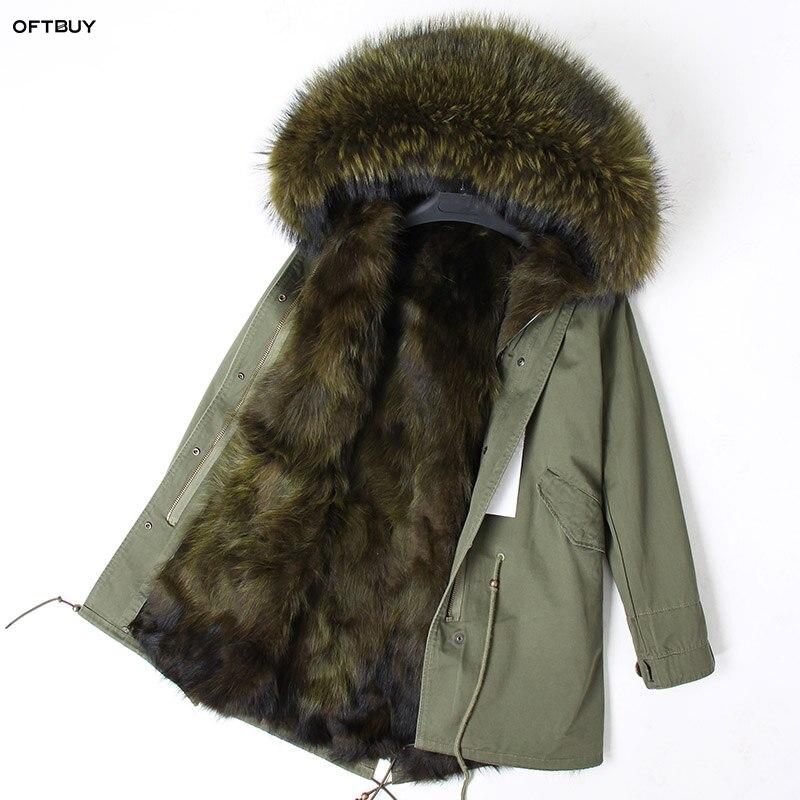 OFTBUY 2019 News Winter Jacket Women Real Fur Coat Parka Raccoon Fur Collar Fox Fur Liner Loose Army Green Long Coat Streetwear