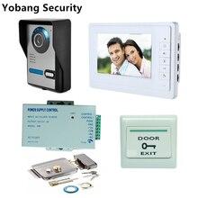 Yobang Security Freeship DHL 7″ Video Intercom Door Phone System With 2 White Monitor Door bell IR Camera +Electric Lock