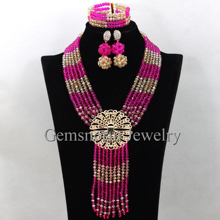 Splendid Fuchsia Gold African Bridal Costume Women Jewelry Set Dubai Indian Crystal Party Necklace Set Free Shipping WA490Splendid Fuchsia Gold African Bridal Costume Women Jewelry Set Dubai Indian Crystal Party Necklace Set Free Shipping WA490