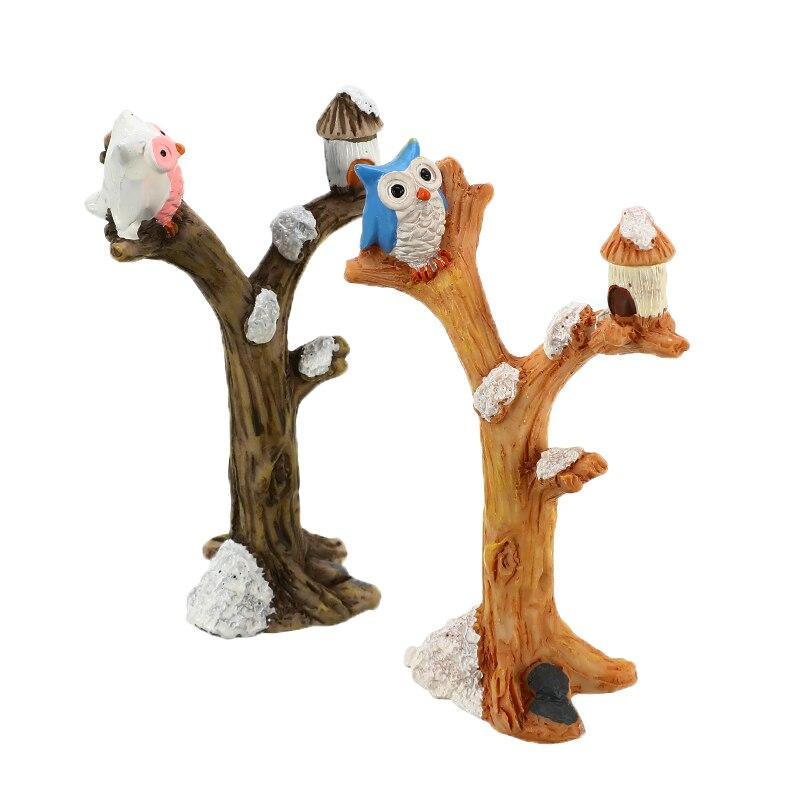 Cartoon Owl Micro Landscaping Ornament Decorative Mini Resin Tree Branch Figurine Garden Bonsai Dollhouse Exquisite Decoration