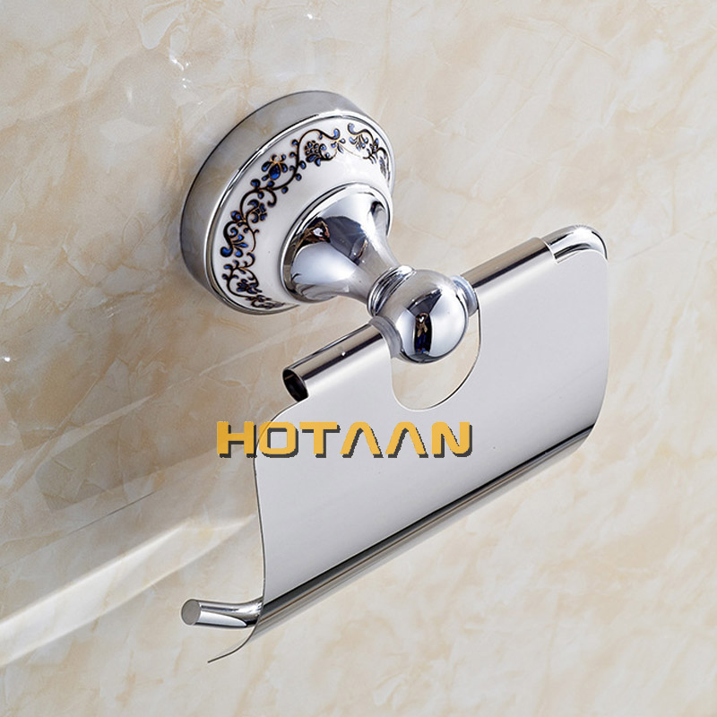 Hot Sale Wholesale And Retail Promotion NEW Ceramic Chrome Brass Wall Mounted Toilet Paper Holder Waterproof Tissue Bar 11892