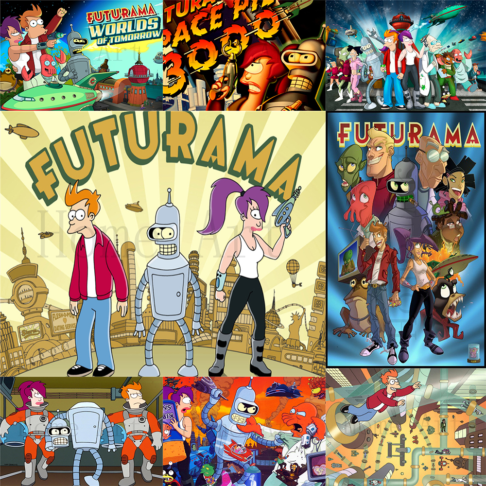 Futurama Poster Clear Image Wall Stickers Home Decoration High Quality Prints White Coated Paper home art Brand