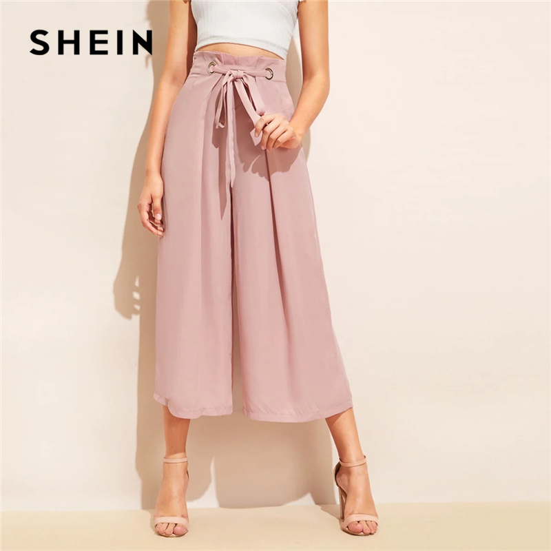 SHEIN Knot Waist Fold Pleat   Wide     Leg     Pants   Women Pink Solid Loose Belted Trousers 2019 Elegant Mid Waist Summer   Pants