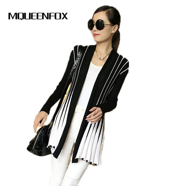 MQUEENFOX 2018 Spring Stripes Print women Knitting Sweater Long Sleeve Women Cardigan Slim Shawl For Female Cardigan