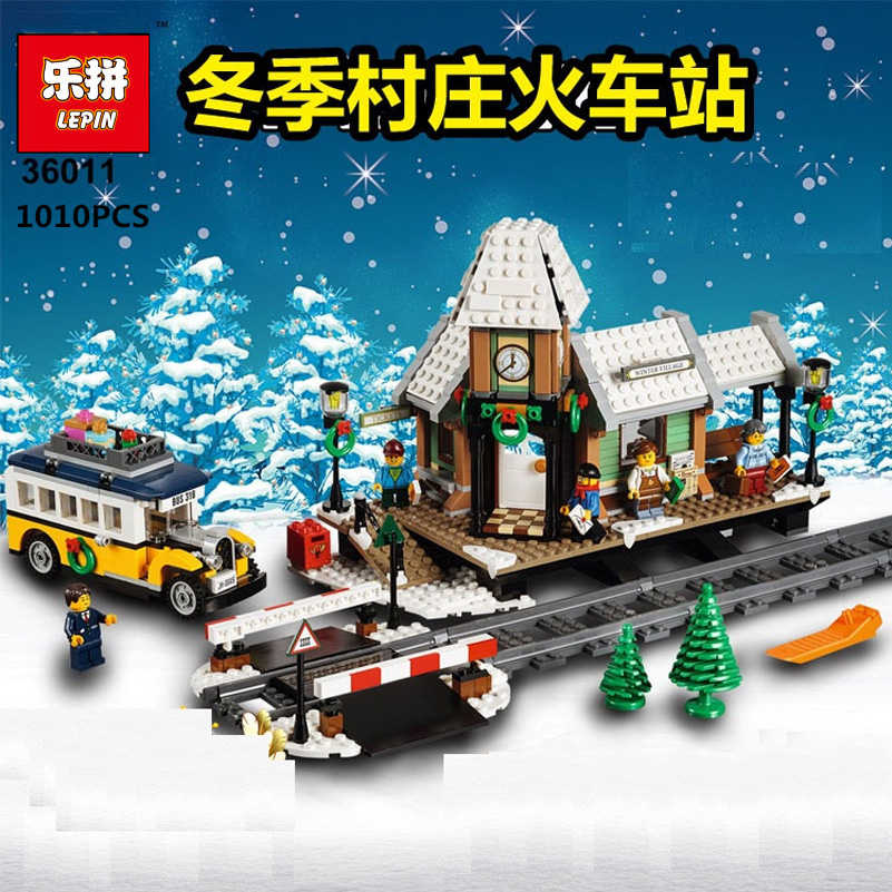 Lepin Winter Village Building Blocks Creative Christmas Series Train Station DIY Bricks Toys Compatible Gifts For Children 36011 dhl fast shipping 1990pcs lepin 05047 ucs ewok village building blocks juguete para construir bricks toys compatible 10236