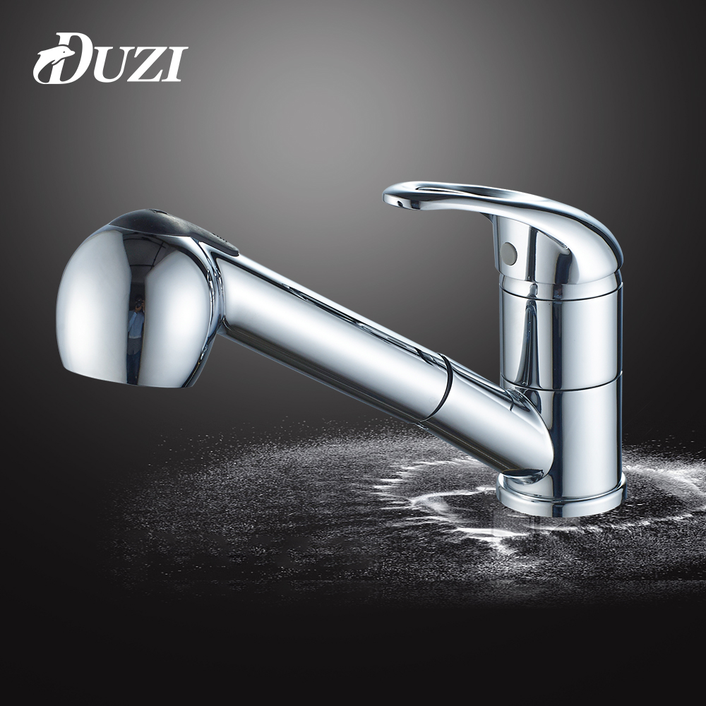 DUZI Kitchen Faucets Single Handle Pull Out Kitchen Tap Single Hole Handle 360 Rotate Crane Chrome Swivel Sink Water Mixer D2124 niko 50pcs chrome single coil pickup screws