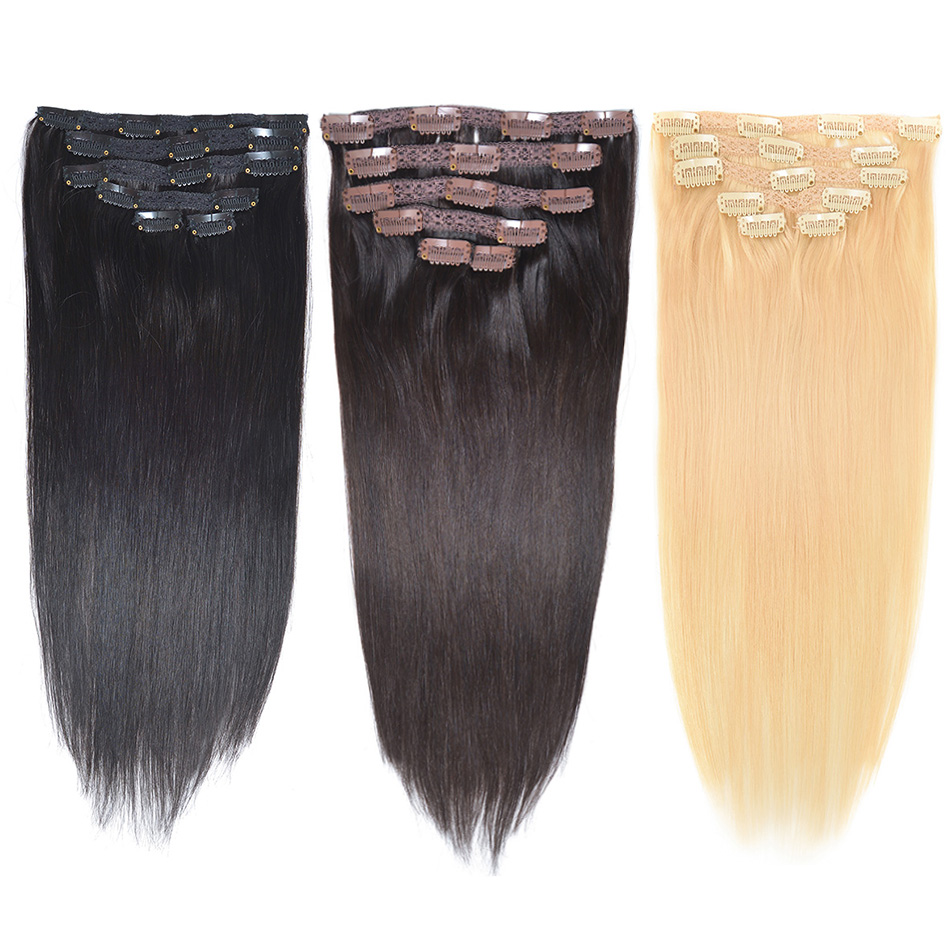 BHF Full Head Clip In Human Hair Extensions Straight Machine Made Remy 100% Chinese 6pcs Human Hair Extension Clips
