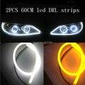 2x60 cm Tira Com Sinal de Volta Do Carro LEVOU Farol Anjo Eye DRL Daytime Running Head Lamp Switchback Estilo Tubo Decorativo luzes