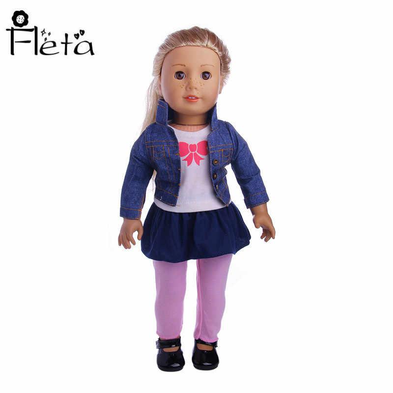 ff2ee8e2830cd ... Fleta Doll Handmade Doll Set Denim Jacket + Denim Skirt + Pink Leggings  + White Top ...