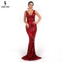 Missord 2019 Sexy Women V Neck Long Sleeveless Sequin Dress Retro geometry Backless Maxi Elegant Reflective Dress FT18726