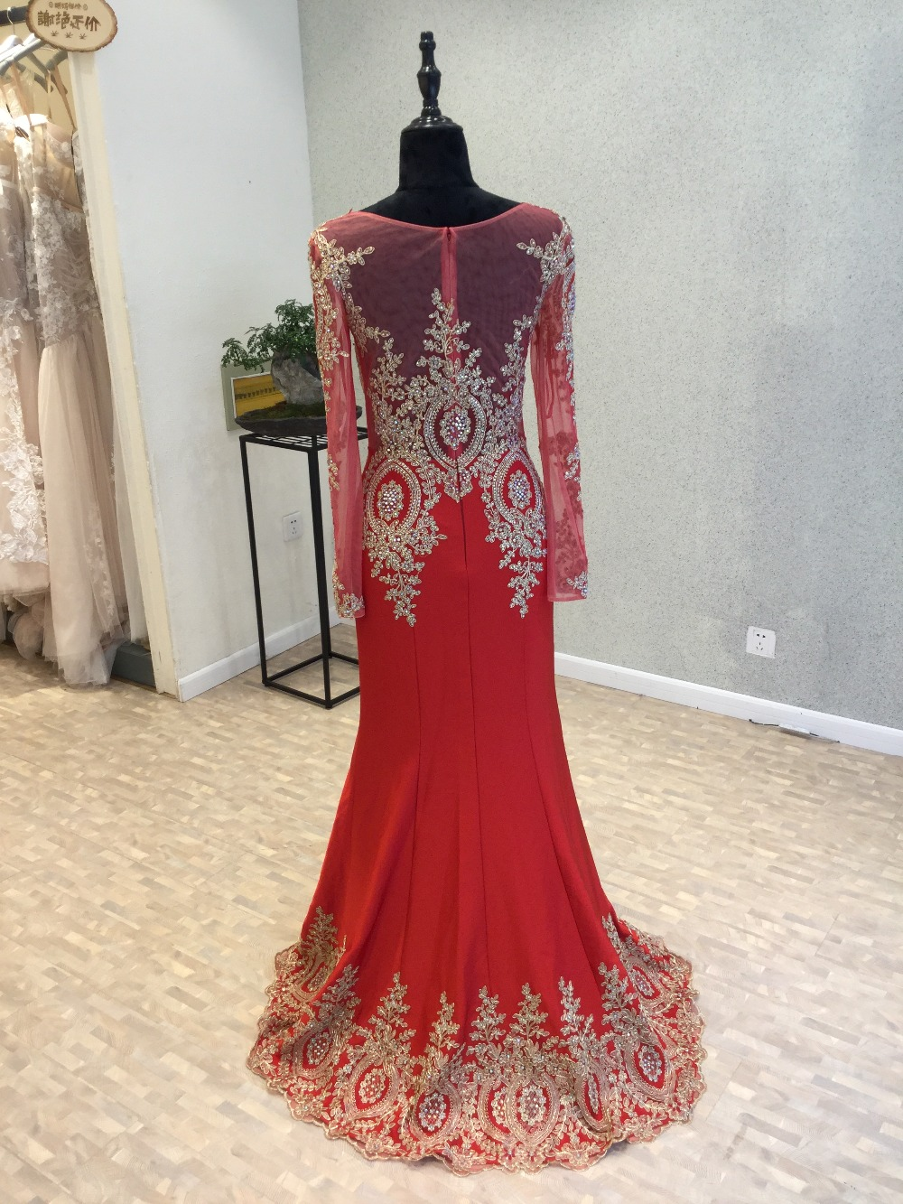 Robe de soirée Sexy rouge robe de soirée 2018 o-cou manches longues longueur au sol Appliques en mousseline de soie robes de bal robes de soirée - 2