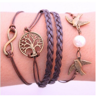 Fashion Vintage Bird Tree Anchors Rudder Rope Owls Infinity Multilayer Leather bracelet jewelry women 2016 - 17KM Official Store store