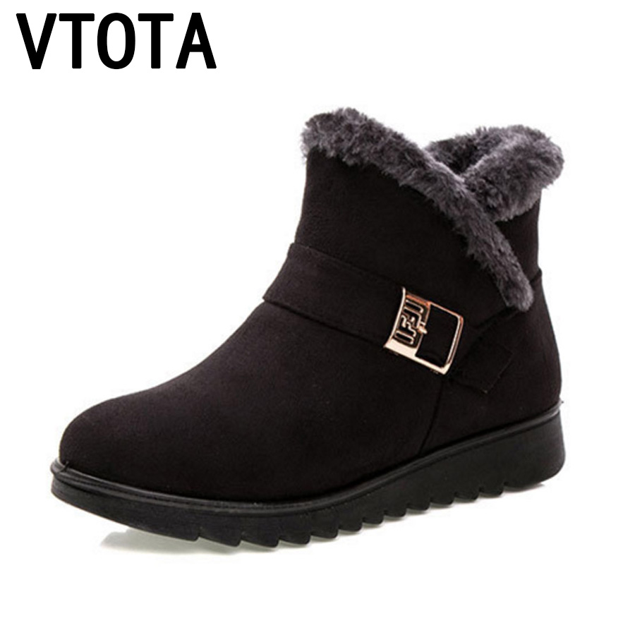 VTOTA de las mujeres de invierno abrigo de invierno Botas para la nieve Botas de Mujer tobillo Botas de piel de las mujeres cuñas de plataforma Botas zapatos de madre zapatos h154