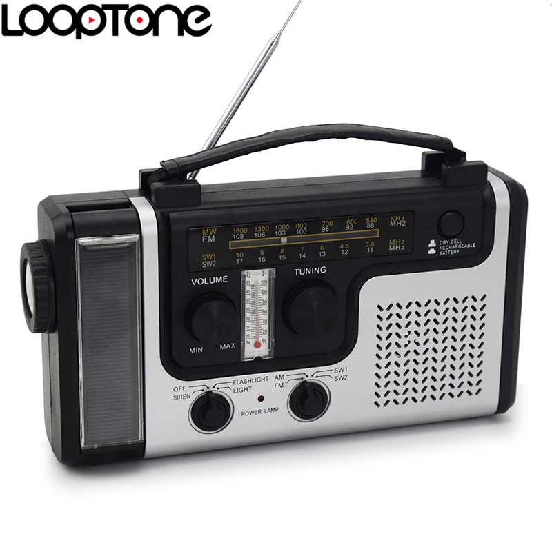 LoopTone Outdoor Portable Solar FM AM Radio Built in Speaker Support Emergency Flashligh Table Lamp thermometer