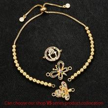ZHUKOU 7x260 мм Модный высококачественный браслет из металлических бусин для женщин DIY украшения ручной работы декоративные аксессуары Модель: VL14