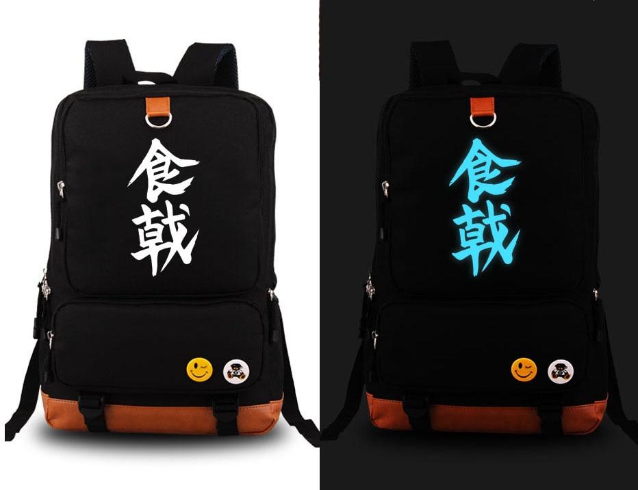Hot Anime Shokugeki no Soma Yukihira souma Luminous Cosplay Backpack Canvas Student Schoolbag Unisex Travel Bags