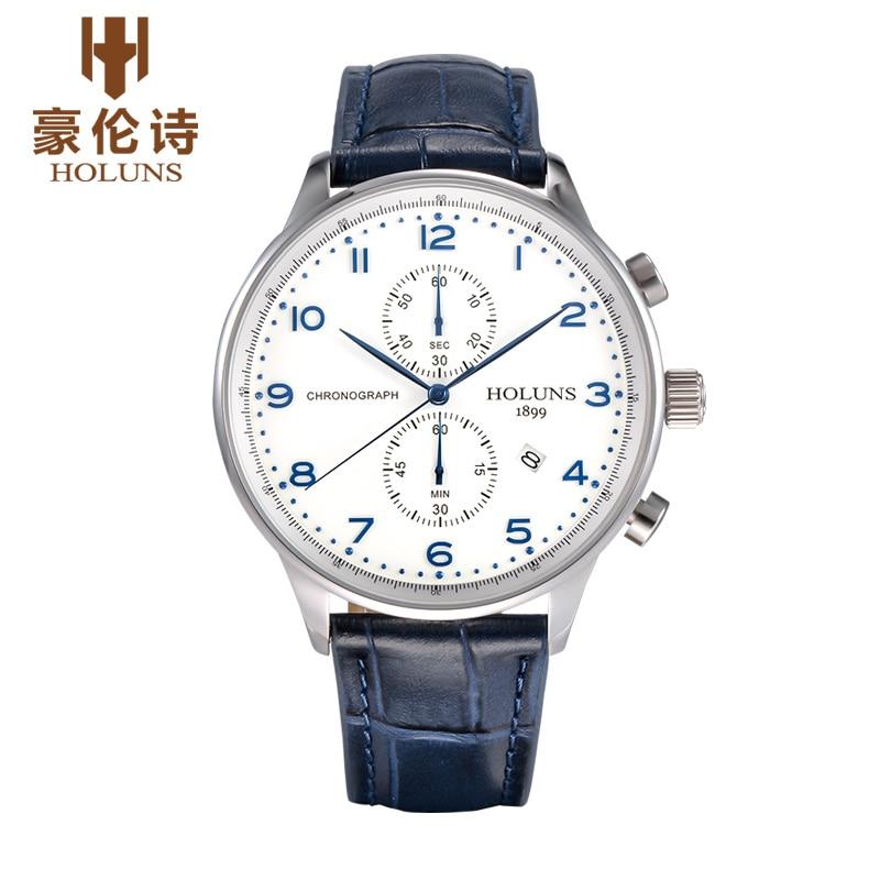 Holuns men quartz portuguese watch Waterproof men's leather strap band sapphire luxury brand chronograph business Wristwatches цена и фото