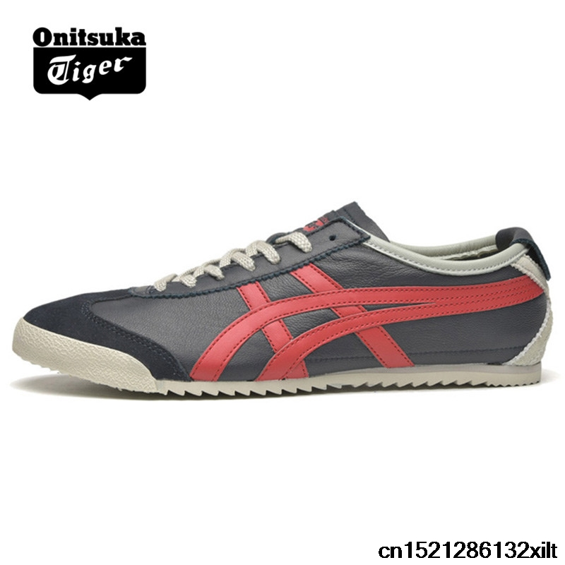 the best attitude 58fa7 749d8 US $59.97 14% OFF|2018 ONITSUKA TIGER MEXICO 66 Men's Women Shoes sheepskin  Beige dark blue Unisex Low Classic Sneakers Badminton shoes-in Badminton ...