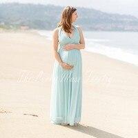 2017 Mint Green Maternity Evening Dresses Long Chiffon Beach Summer Ever Pretty Evening Dresses Pregnant Women
