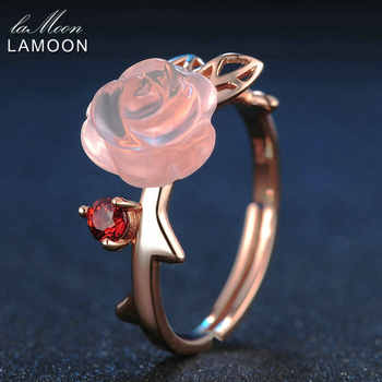 LAMOON 925 Sterling Silver Ring For Women Rose Quartz Gemstone Rose Flower 18K Rose Gold Plate Adjustable Ring  Jewelry LMRI025 - DISCOUNT ITEM  40% OFF All Category