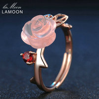 LAMOON Rose Flower 9mm 100 Natural Pink Rose Quartz Ring 925 Sterling Silver Jewelry Rose Gold