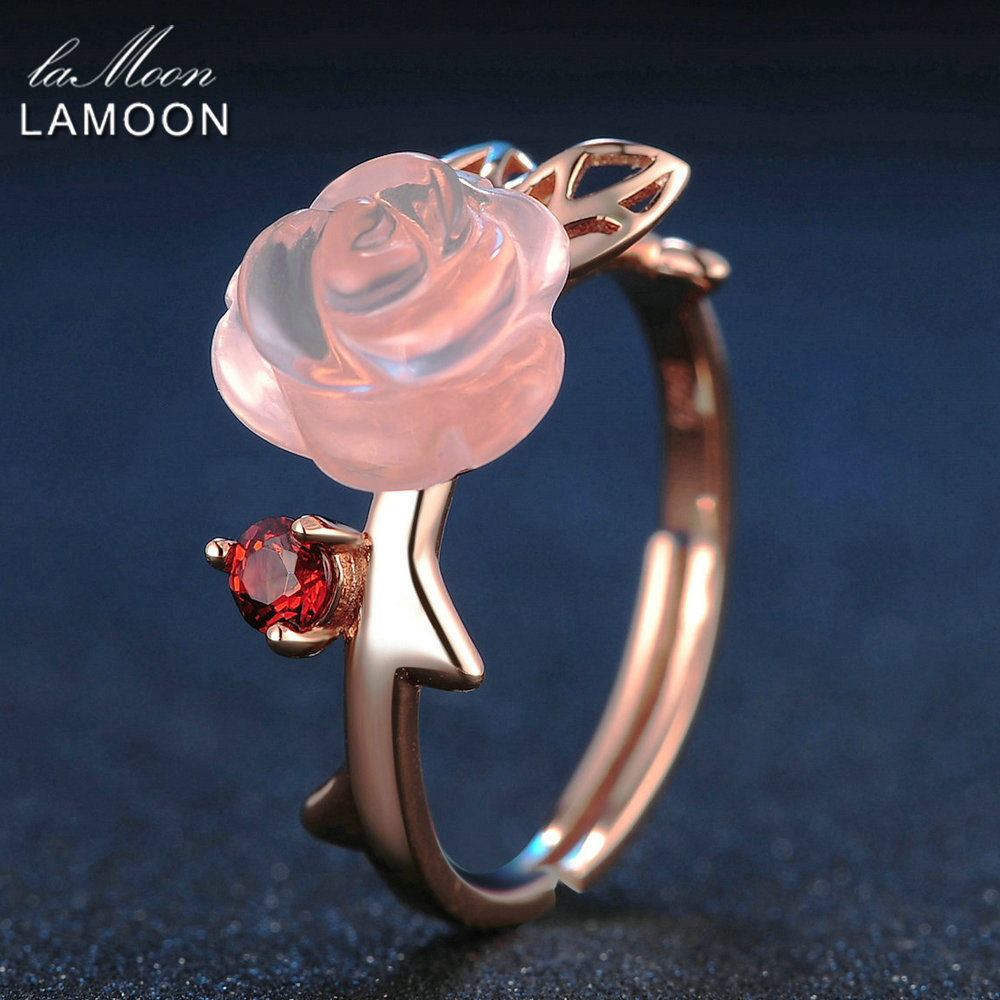 LAMOON Rose Flower 9mm 100 Natural Pink Rose Quartz Adjustable Ring 925 Sterling Silver Jewelry for