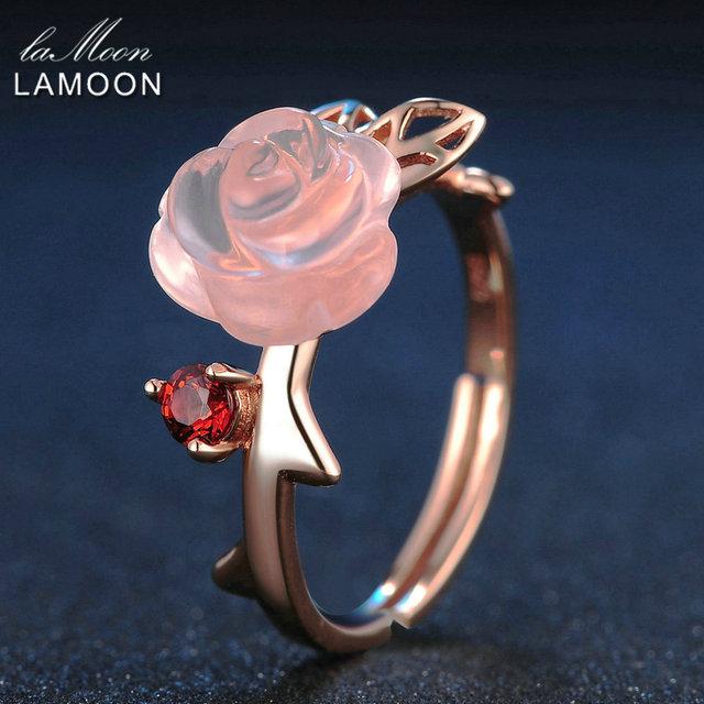 LAMOON Rose Flower 9mm 100% Natural Pink Rose Quartz Ring 925 Sterling Silver Jewelry Rose Gold Romantic Wedding Band LMRI025