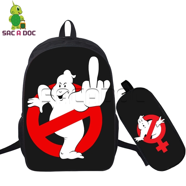 2 Pcs set Women Men Backpacks Ghostbusters Logo Finger Stay Puft  Marshmellow Man Book Bags School Bags for Teenagers Travel Bag 1ddd375061
