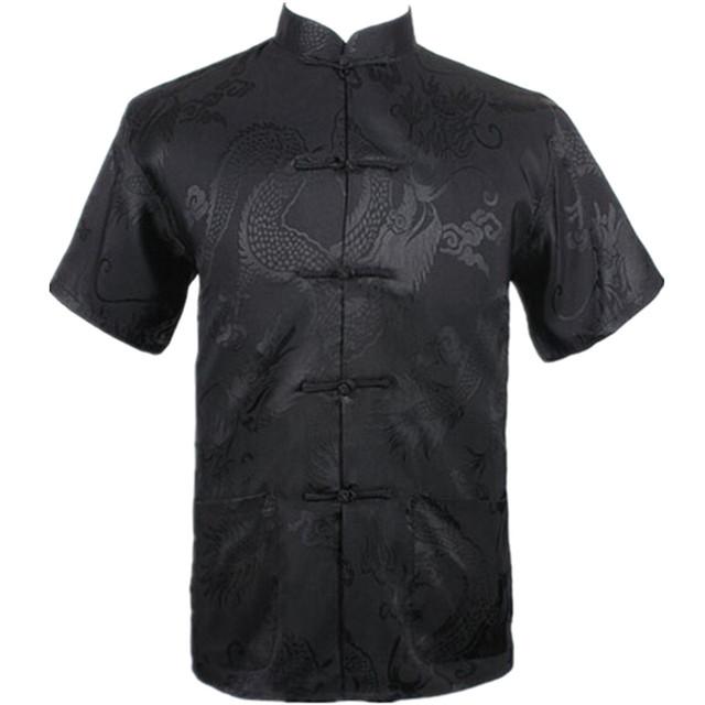 Novo Preto Homens Verão Lazer Camisa de Alta Qualidade de Seda Chinesa Rayon Kung fu tai chi m061306 camisas plus size m l xl xxl xxxl