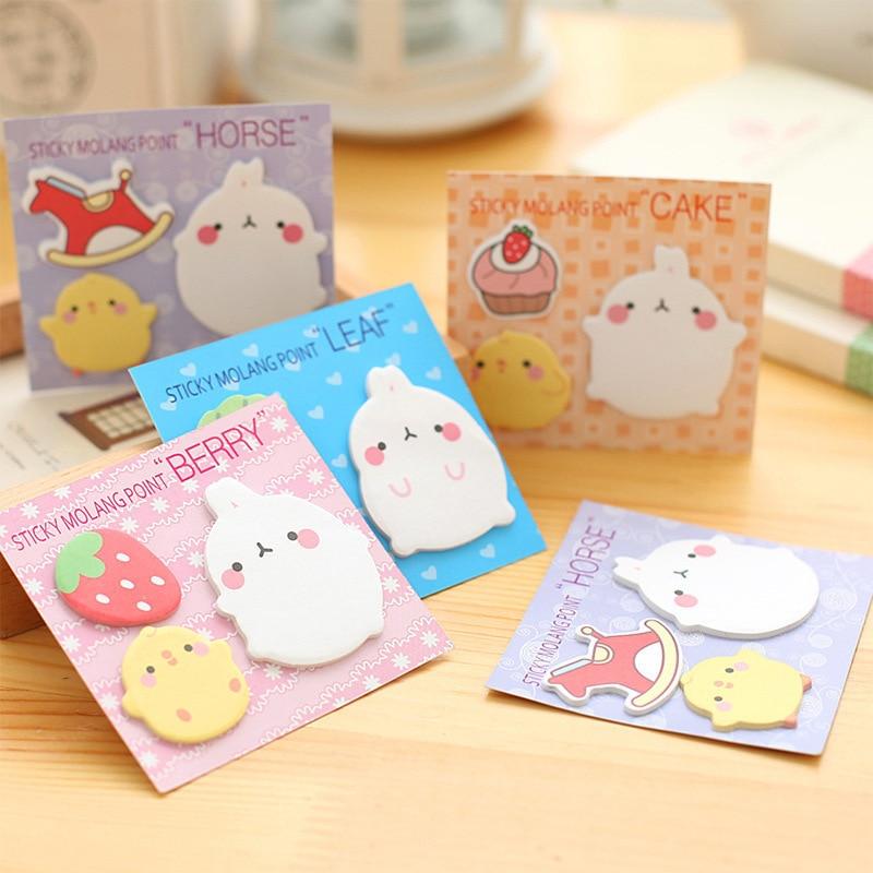 Free Shipping Mini Cute Kawaii Molang Memo Pads Lovely Cartoon Rabbit Horse Post It Note For Kids Gift Korean Novelty Stationery
