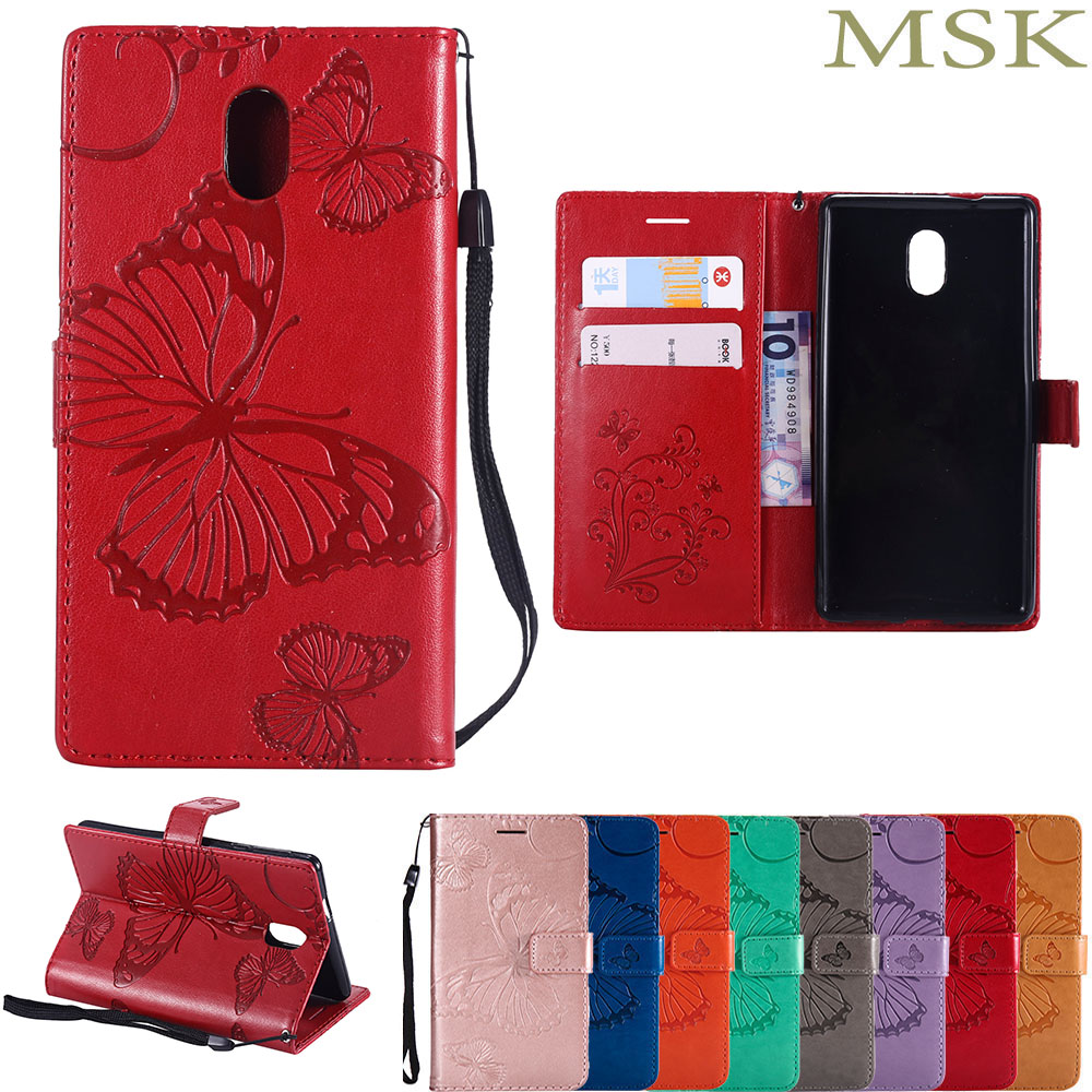 Flip for Nokia3 TA-<font><b>1032</b></font> TA-1020 <font><b>Case</b></font> Phone Leather Cover for <font><b>Nokia</b></font> <font><b>3</b></font> <font><b>Case</b></font> Global Dual TA <font><b>1032</b></font> Butterfly Wallet Silicone <font><b>Cases</b></font> image