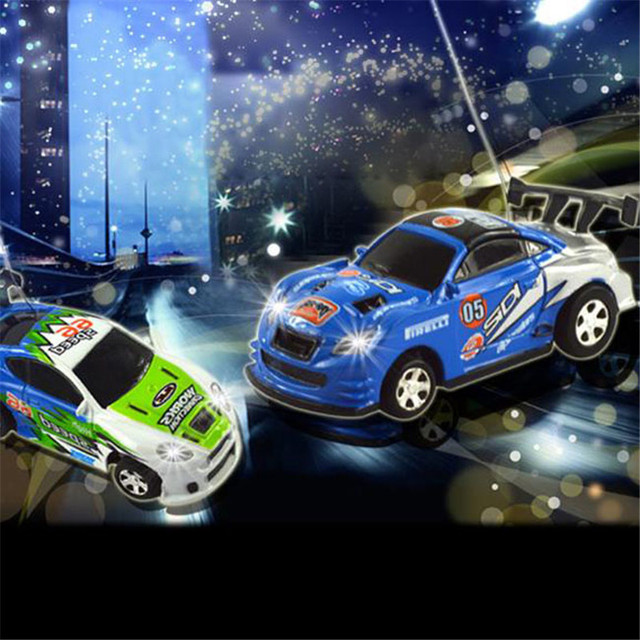 Random Color Coke Can RC Car Radio Remote Control Micro Racing Car Toy 4pcs Road Blocks Kid's Toys Gifts Randomly Sent LA885974