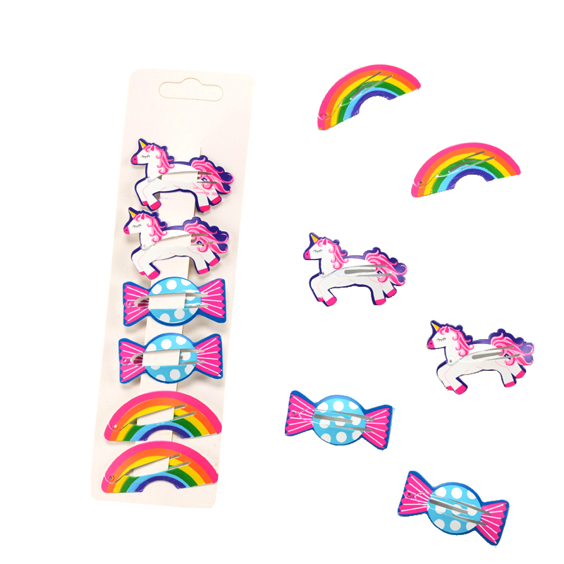 New Arrivals 2-6Pcs/Set Children Cartoon   Headwear   Set Animals Horse Rainbow Candy Hairpins Set Printing Hair Clip for Girls