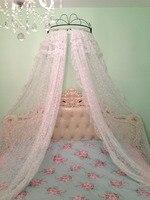 Ücretsiz kargo beyaz prenses yatak saçak ev yatak Dantel yatak manto etek kesme beyaz iplik ofhead dekorasyon perde prenses