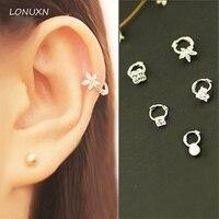 Korean Fashion 925 Silver Diamond Buckle Buckle Ear Ear Love Clover Mini Multi Exclusive Pierced Earrings