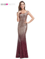 Ever Pretty 2017 New Fashion Women Evening Dresses Long Sparkle V Neck Elegant Sequin Mermaid Maxi