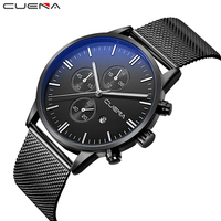 CUENA Fashion Casual Men Quartz Watches Clock Relojes Stainless Steel Male Wristwatches Waterproof Relogio Masculino Black