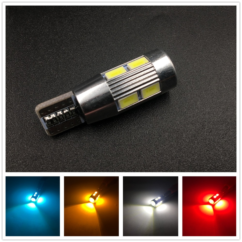 цена на CYAN SOIL BAY 1x W5W 10 led 5630 5730 SMD Projector Lens Canbus Error Free auto Clearance tail Lights T10 CAR Wedge NO OBC ERROR