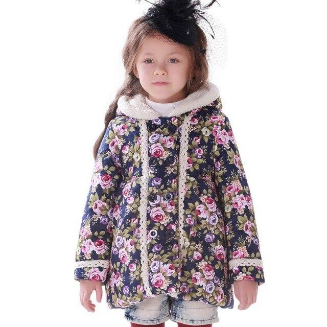 Бесплатная доставка модная девушка зимняя курдка ребенка детская одежда капюшоном зимняя куртки для девочек цветок толще детей парки
