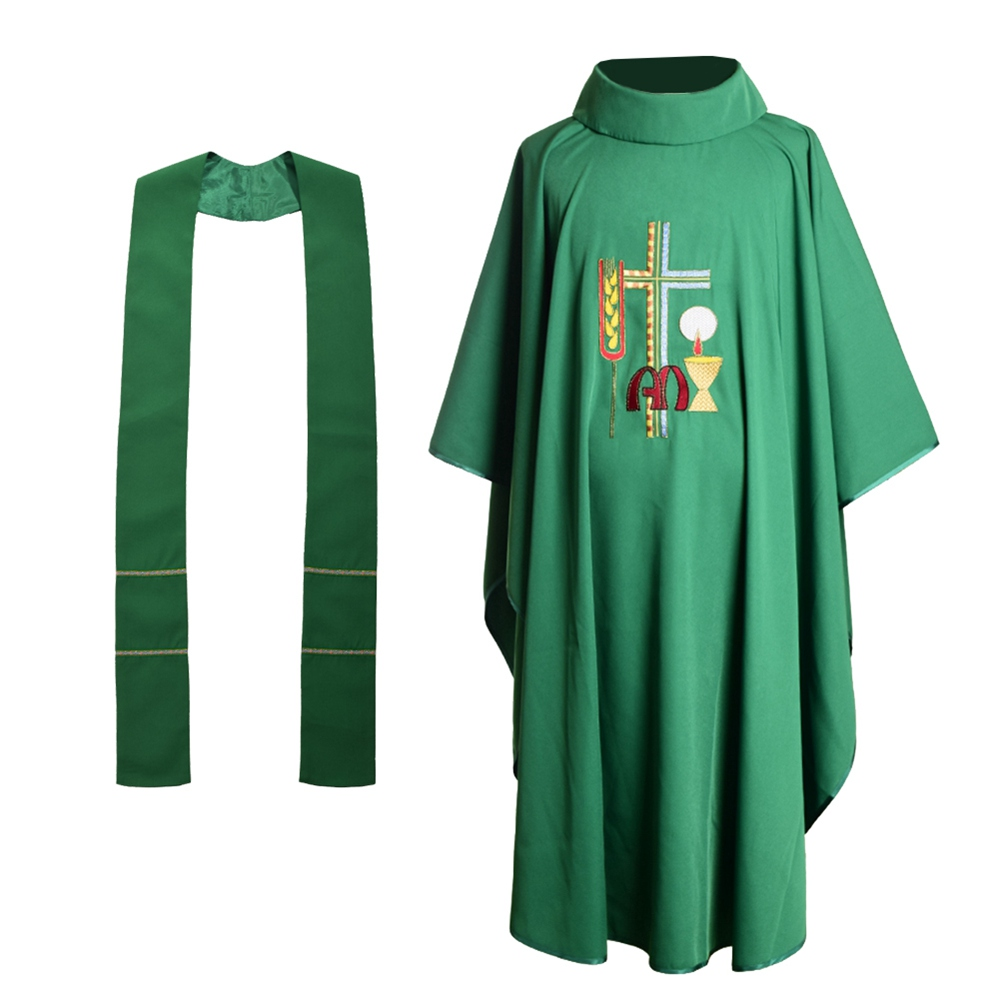 Wheat Embroidered Chasuble Vestments Green Church Priest Garment Religion Christian Cross Costume