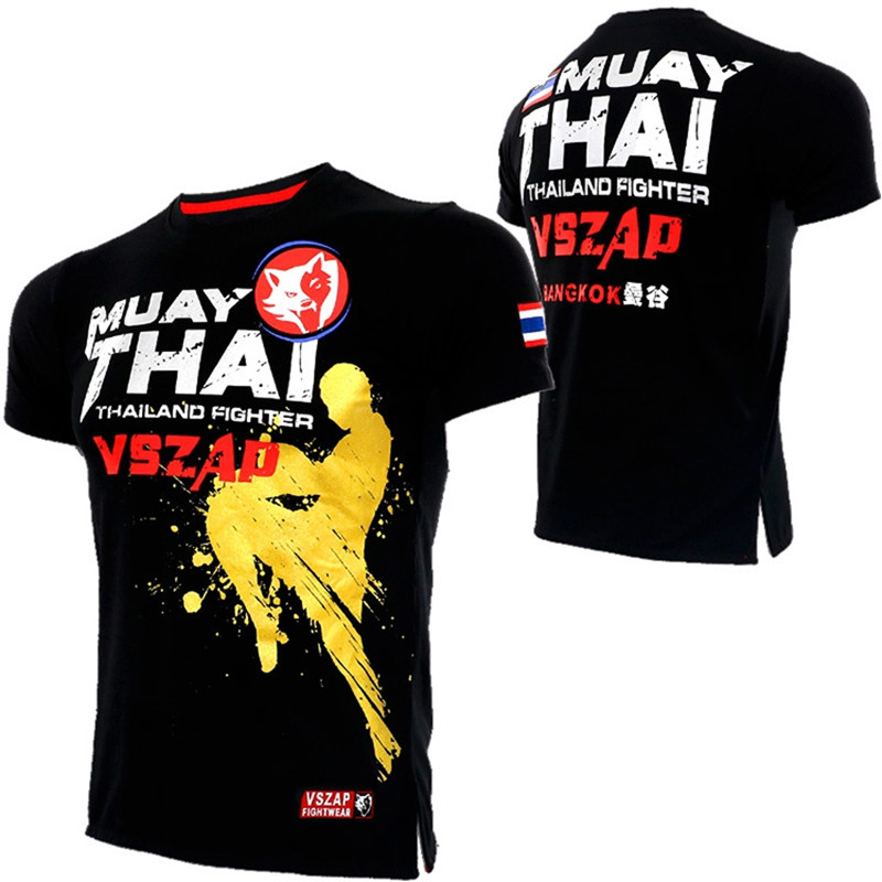 VSZAP Gloden Wolf Boxing MMA T Shirt Gym Tee Shirt Fighting Martial Arts Fitness Training Wolf Muay Thai T Shirt Men Homme S-2XL