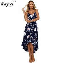 2019 Women Dress Summer Sexy Halter Maxi Dress Floral Print Beach Boho Dress Irregular Pleated Hem Party Elegant Ladies Sundress floral print hanky hem shift dress