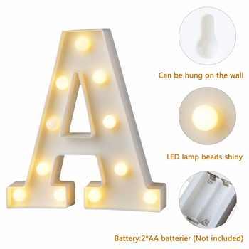 Lettre en plastique blanc LED veilleuse chapiteau signe Alphabet lumières lampe maison Club extérieur intérieur mur décor saint valentin cadeau