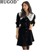 RUGOD Fashion women mini women dress winter Single breasted lace patchwork party dresses Elegant solid A line dresses vesti