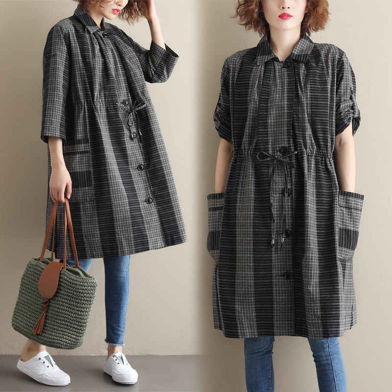 2019 Summer New Korean Shirt Large Size Plaid Seven-point Sleeve Drawstring Slim Windbreaker Female Long Loose Blouse Tops f1106